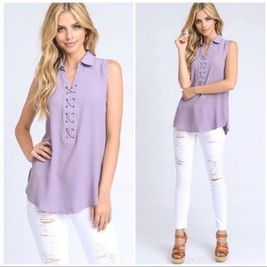 Tops - Purple Lace Up Sleeveless Blouse